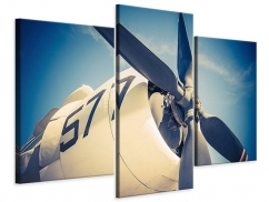 Leinwandbild 3-teilig modern Close Up Propellerflugzeug