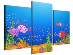 Leinwandbild 3-teilig modern Der Schatz unter Wasser