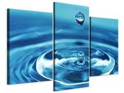 Leinwandbild 3-teilig modern Der Wassertropfen