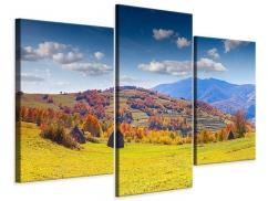 Leinwandbild 3-teilig modern Herbstliche Berglandschaft