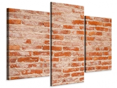 Leinwandbild 3-teilig modern Mauerwerk