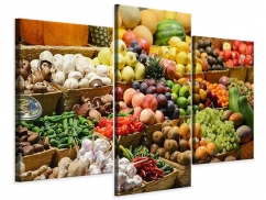 Leinwandbild 3-teilig modern Obstmarkt