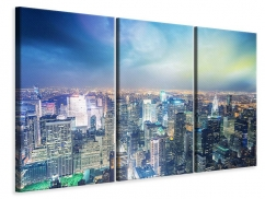 Leinwandbild 3-teilig Skyline NY bei Sonnenuntergang