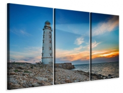Leinwandbild 3-teilig Sonnenuntergang am Leuchtturm
