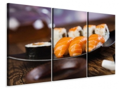 Leinwandbild 3-teilig Sushi-Gericht