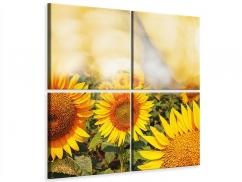 Leinwandbild 4-teilig Das Licht der Sonnenblumen