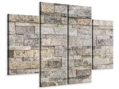 Leinwandbild 4-teilig Elegante Steinmauer