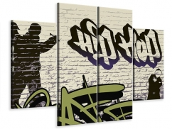 Leinwandbild 4-teilig Graffiti Hip Hop
