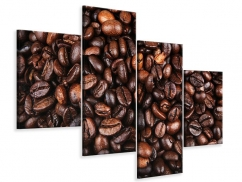 Leinwandbild 4-teilig modern Kaffeebohnen in XXL