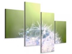 Leinwandbild 4-teilig modern Pusteblume XL im Morgentau
