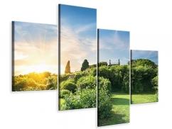 Leinwandbild 4-teilig modern Sonnenaufgang im Park