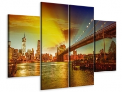 Leinwandbild 4-teilig Skyline Brooklyn Bridge NY
