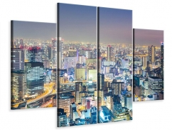 Leinwandbild 4-teilig Skyline Osaka bei Sonnenuntergang