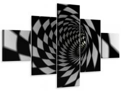 Leinwandbild 5-teilig Abstrakter Tunnel Black & White
