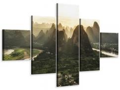 Leinwandbild 5-teilig Die Berge von Xingping