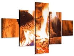 Leinwandbild 5-teilig Kaminfeuer