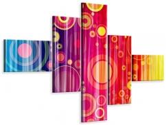 Leinwandbild 5-teilig modern Grunge-Retrokreise