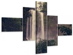 Leinwandbild 5-teilig modern Wasserfall in Mexiko