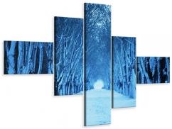 Leinwandbild 5-teilig modern Winterbäume