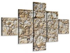 Leinwandbild 5-teilig Sandsteinmauer
