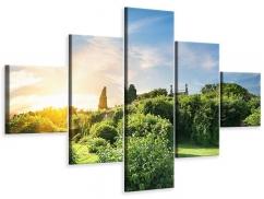 Leinwandbild 5-teilig Sonnenaufgang im Park
