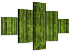 Leinwandbild 5-teilig Wasserspiegelung Bambus