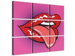Leinwandbild 9-teilig Pop Art Mund