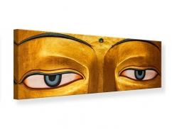 Leinwandbild Panorama Die Augen eines Buddhas