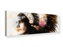 Leinwandbild Panorama Kunstvolles Indianer-Portrait