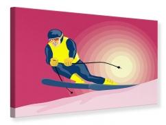 Leinwandbild Retro-Skifahrer