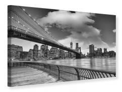 Leinwandbild Skyline Schwarzweissfotografie Brooklyn Bridge NY