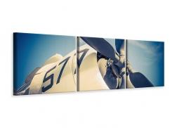 Panorama Leinwandbild 3-teilig Close Up Propellerflugzeug