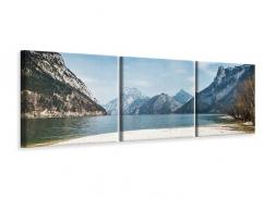 Panorama Leinwandbild 3-teilig Der idyllische Bergsee