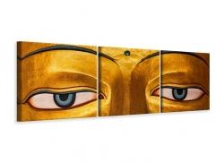 Panorama Leinwandbild 3-teilig Die Augen eines Buddhas