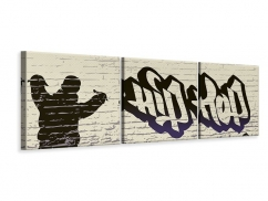 Panorama Leinwandbild 3-teilig Graffiti Hip Hop