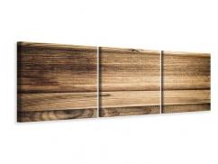 Panorama Leinwandbild 3-teilig Holztrend