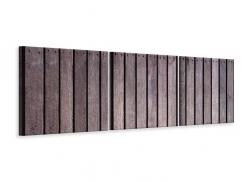 Panorama Leinwandbild 3-teilig Holzwand