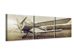 Panorama Leinwandbild 3-teilig Nostalgisches Flugzeug im Retrostyle