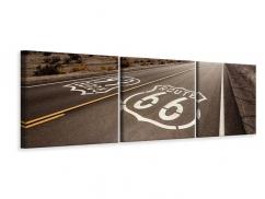 Panorama Leinwandbild 3-teilig Route 66