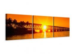 Panorama Leinwandbild 3-teilig Sonnenuntergang an der Brücke