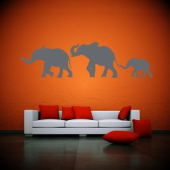 Wandtattoo Elefantenfamilie Afrika Silhouette Vater Mutter Kind