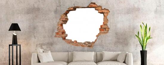 3D Wandtattoo Mauerdurchbruch Ziegel ca. 65cm x 63cm