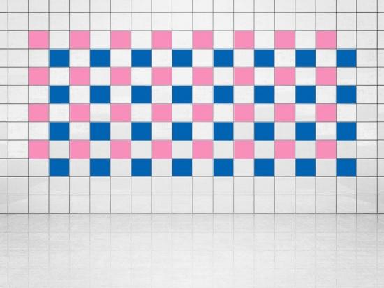 Fliesenaufkleber Blau (A733) und Pink (A716) 20er Set