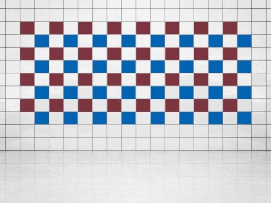 Fliesenaufkleber Blau (A733) und Weinrot (A778) 20er Set