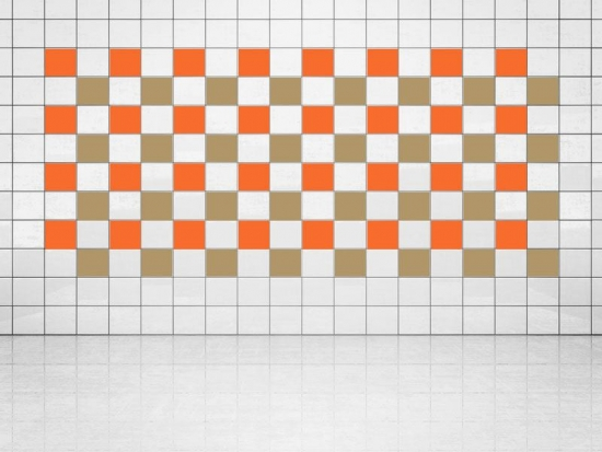Fliesenaufkleber Gold Metallic (A836) und Orange (A705) 20er Set
