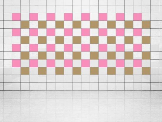 Fliesenaufkleber Gold Metallic (A836) und Pink (A716) 20er Set