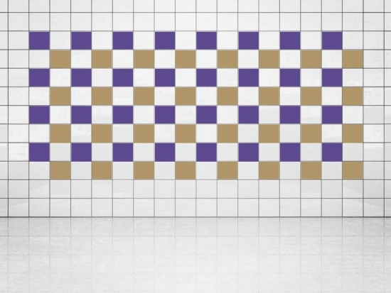 Fliesenaufkleber Gold Metallic (A836) und Violett (A717) 20er Set