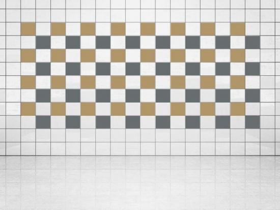 Fliesenaufkleber Grau (A720) und Gold Metallic (A836) 20er Set