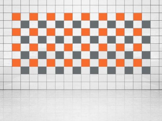 Fliesenaufkleber Grau (A720) und Orange (A705) 20er Set