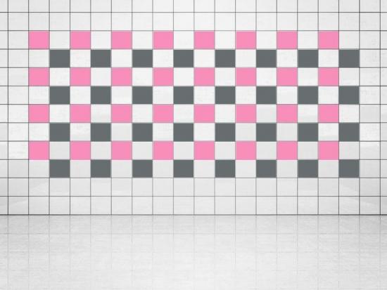Fliesenaufkleber Grau (A720) und Pink (A716) 20er Set